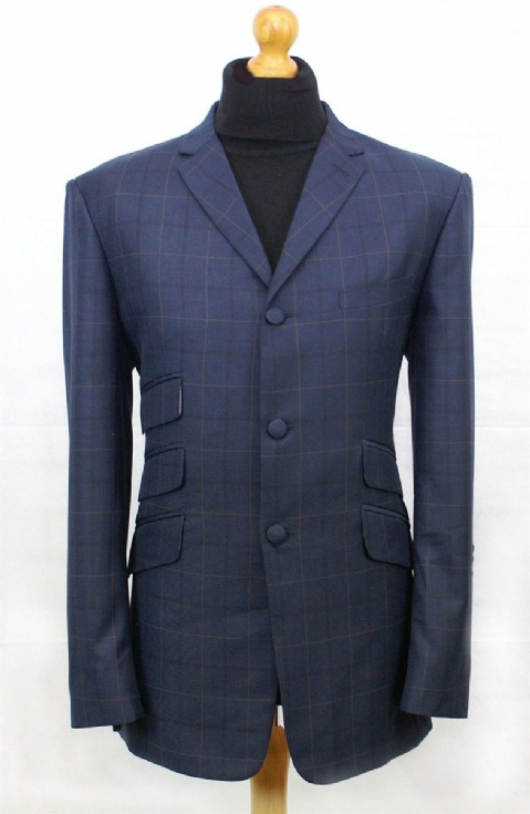 """Perkins"" 3 & 2 Classic Skinhead Navy & Orange Check Suit"